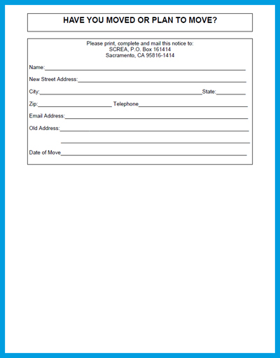 employee address change form template