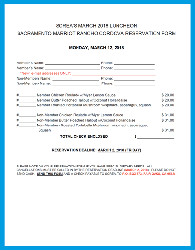 ViewDownload The Upcoming Screa Luncheon Reservation Form For March